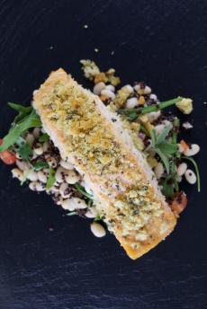 Crunchy sage salmon, quinoa bean salad