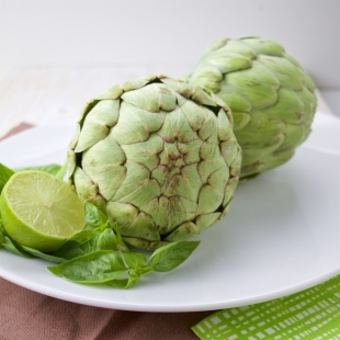 artichoke with citrus basil butter sauce