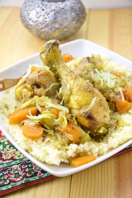 Chicken couscous with leeks