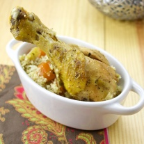 Saffron Chicken Couscous with Leeks and Carrots