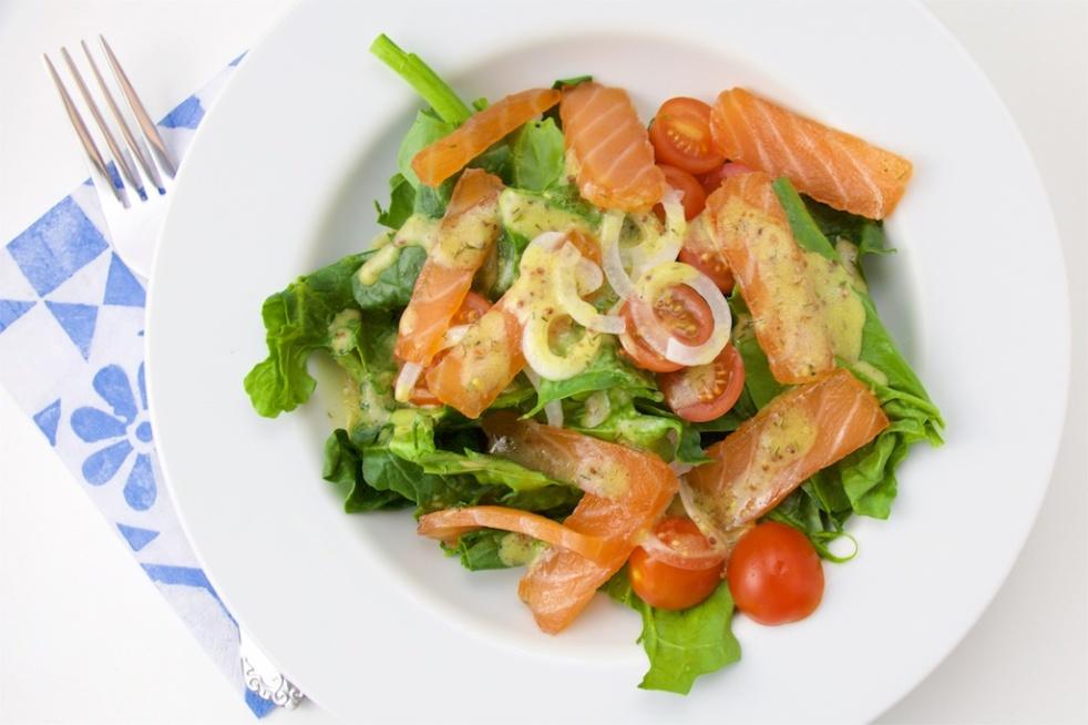 Gravlax salad sweet mustard dressing