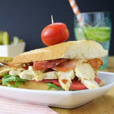 cured ham baguette club sandwich
