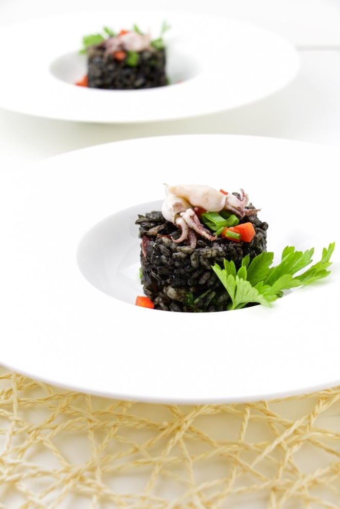 Arroz Negro with mini squids and shrimps