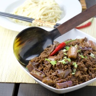 Szechuan beef and eggplant noodles