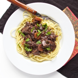 Boeuf bourguignon on pasta