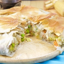 Chicken pot pie with phyllo