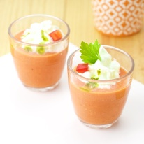 Gazpacho shots with cucumber mousse