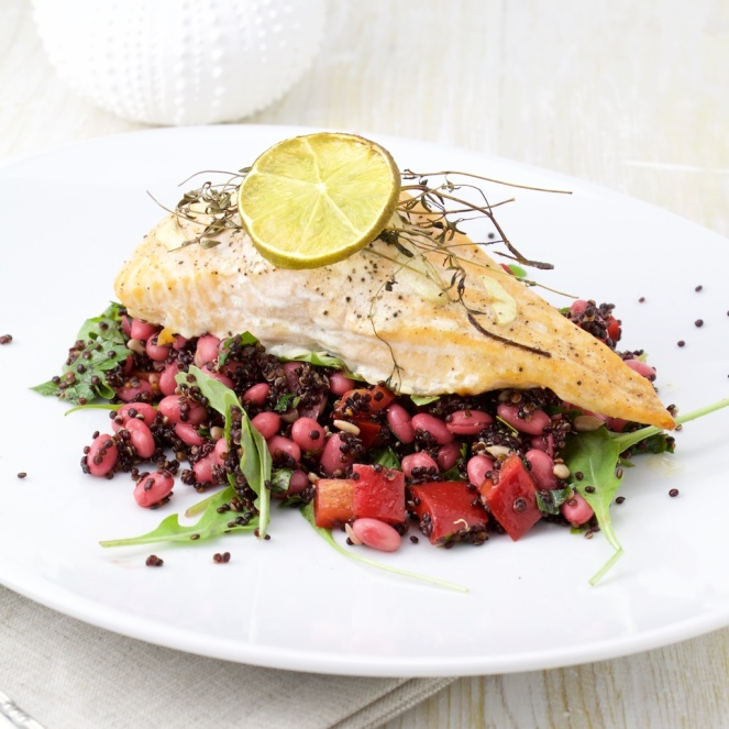 Salmon on quinoa and bean salad