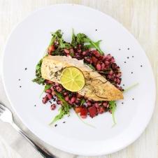 Salmon on quinoa and bean salad