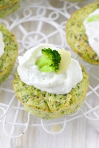 Savoury Broccoli cupcake with a goat cheese frosting