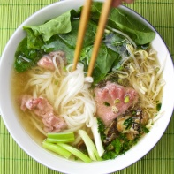 Pho Bo plus spinach and shiitake