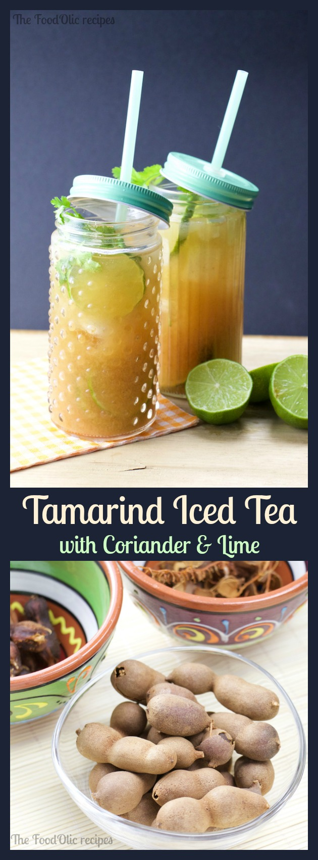 Tamarind Iced Tea makes one of the healthiest and tastiest Iced Tea to cool down on a hot summer day! Served with extra lime, cilantro leaves and lots of ice cubes to make it extra fresh!