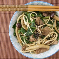 Chinese wine beef and mushroom noodles