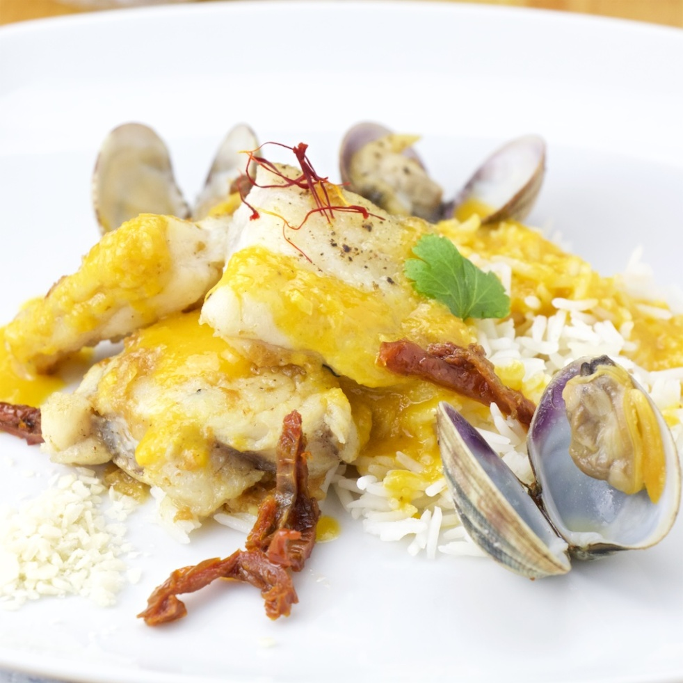 Monkfish in saffron-sherry-almond sauce