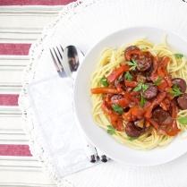 Pasta with chorizo al vino sauce
