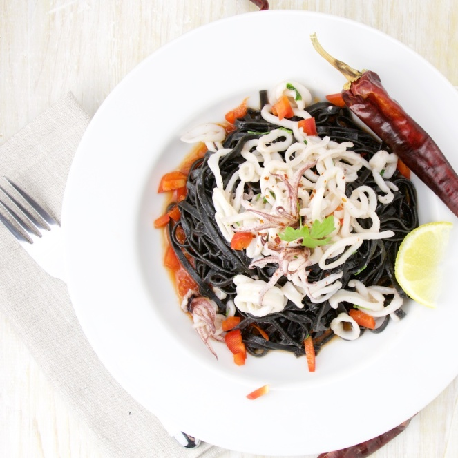 Calamar Ink Linguine on a spicy tomato sauce