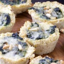 Mini low carb cauliflower spinach tarts