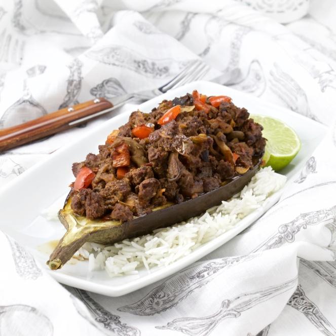 Sichuan beef-mushroom stuffed eggplant