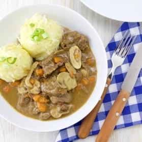 German beer beef stew with knödeln