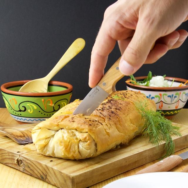 Krautstrudel with horseradish sauce