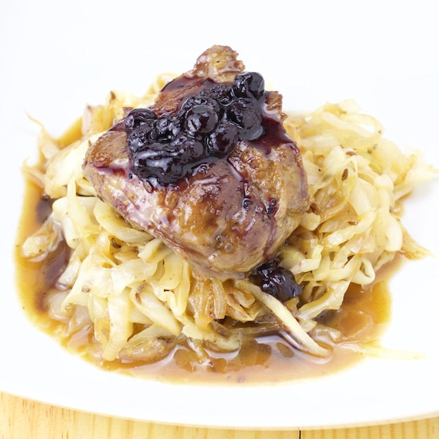 blueberry pork cheek braised cabbage