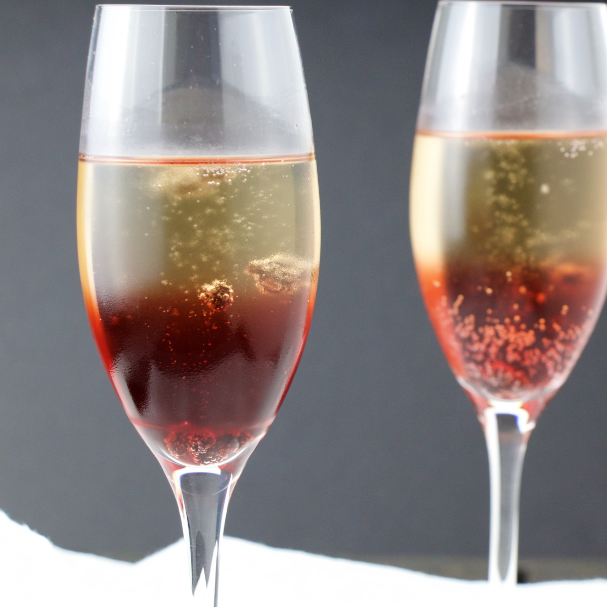 Skinny Kir Royal with Blueberries