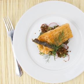 Maple-mustard Salmon on quinoa, dill, cucumber salad