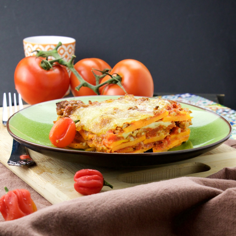 spicy bolognese sweet potato lasagna