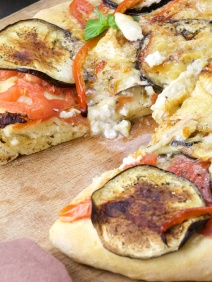 Coca of eggplant, pepper and goat cheese (Catalan Pizza)