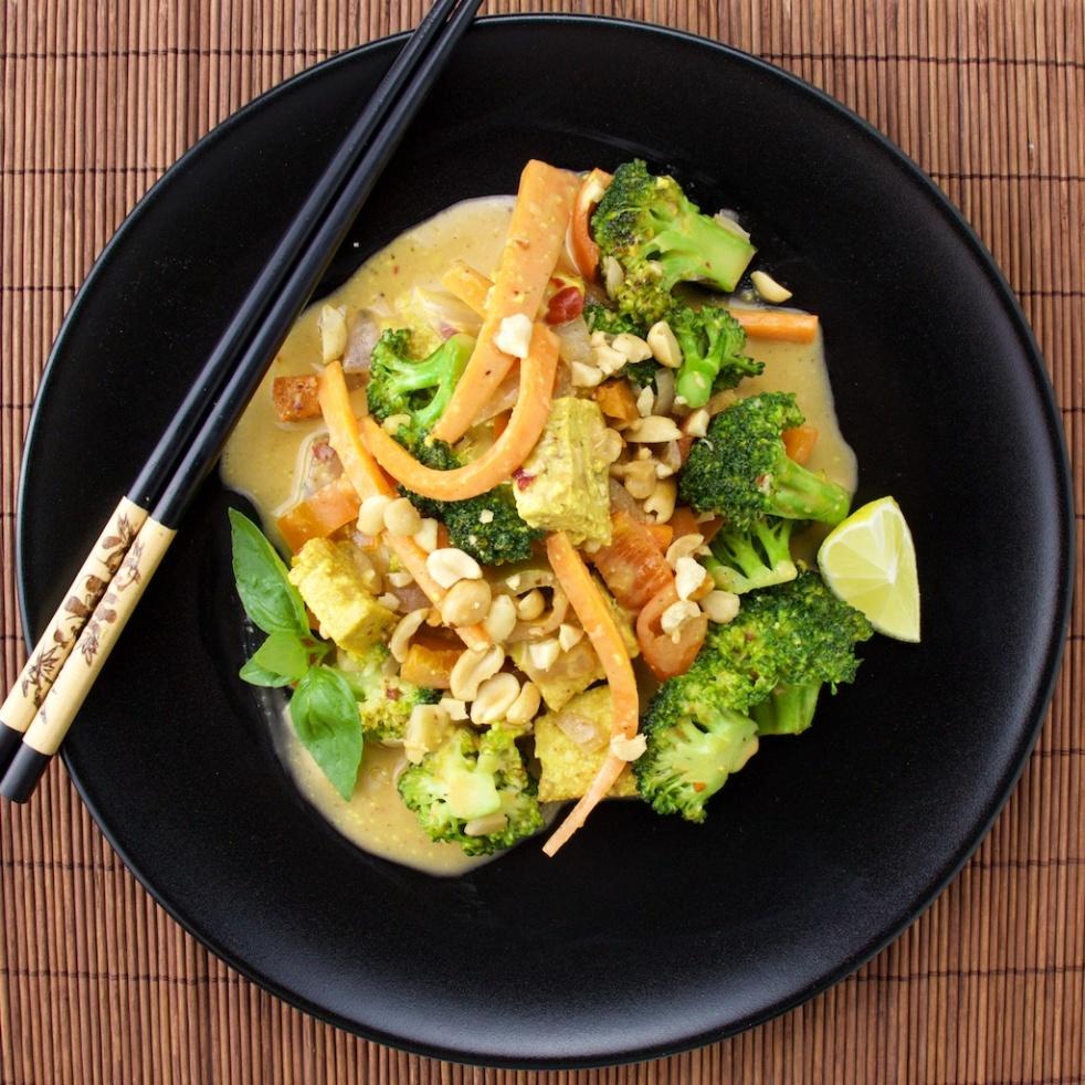 peanut vegetarian wok tofu