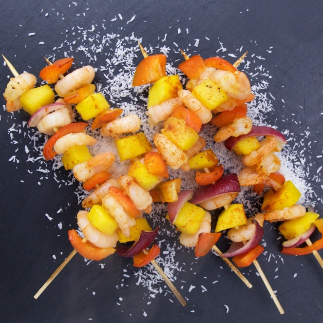 Spicy shrimp-mango skewers