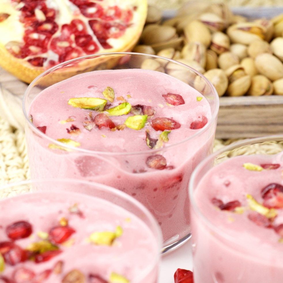pomegranate mousse pistachio cheese