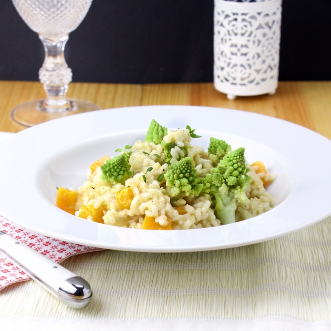 Romanesco broccoli-butternut squash goat cheese risotto