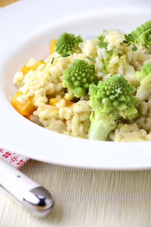 Romanesco broccoli-butternut squash risotto