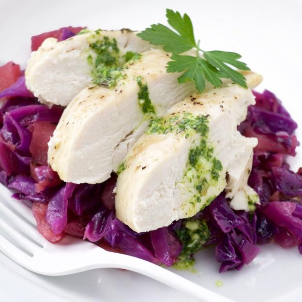 Salsa verde chicken on Red cabbage-apple