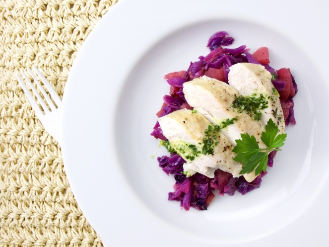 Salsa verde chicken on Red cabbage-apple