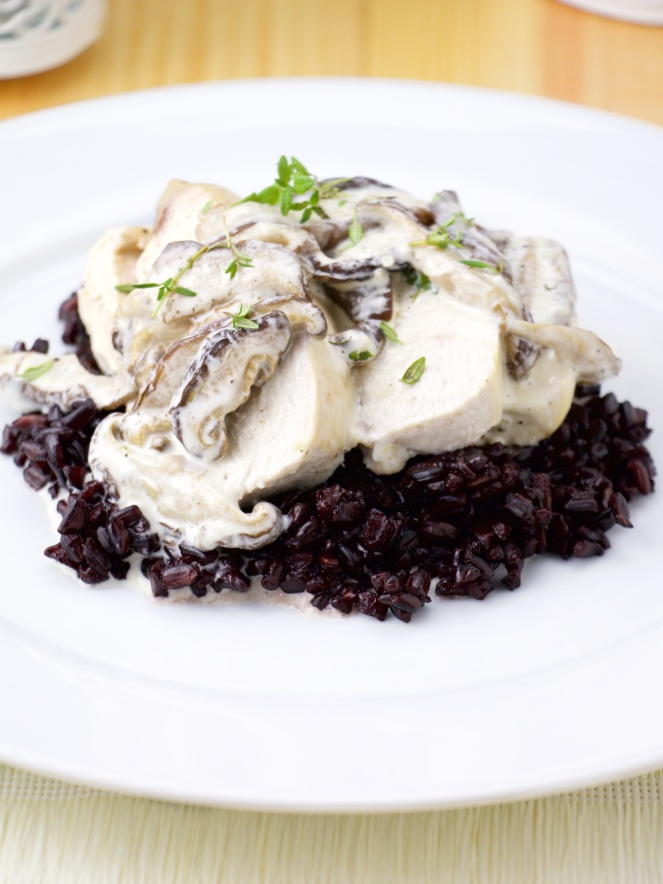 Mushroom cream chicken breast on black rice