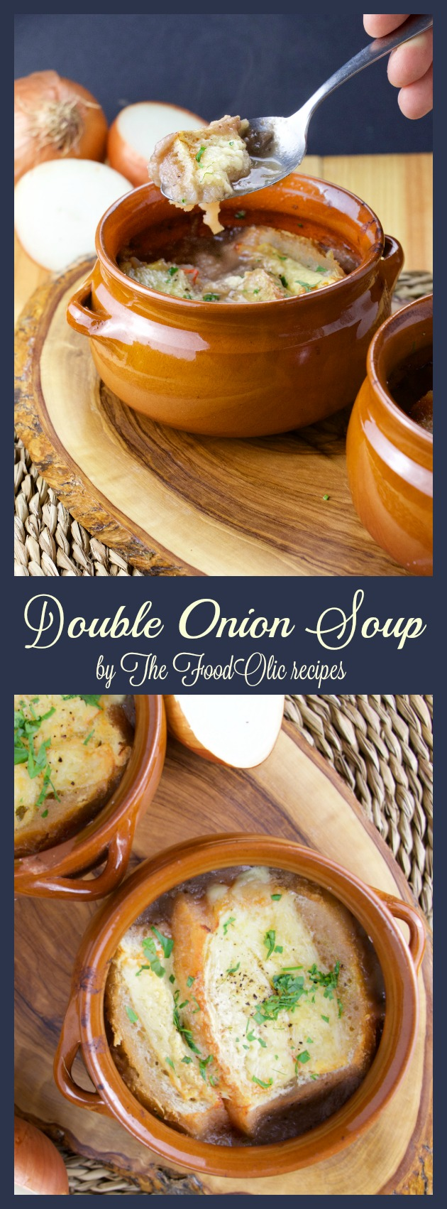 This is two soups in one for an extra tasty onion soup. Don't we all love a good onion soup? Imagine combining an onion cream with a french onion soup! The result is just exponentially delicious!