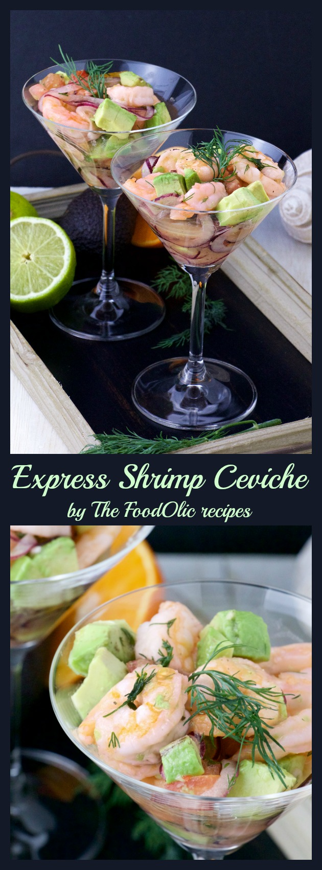 "This Express Shrimp Ceviche is a light and refreshing appetizer great for any occasions. It's a ""fast preparation"" version which contains some fresh dill, tomatoes, avocado and red onions."