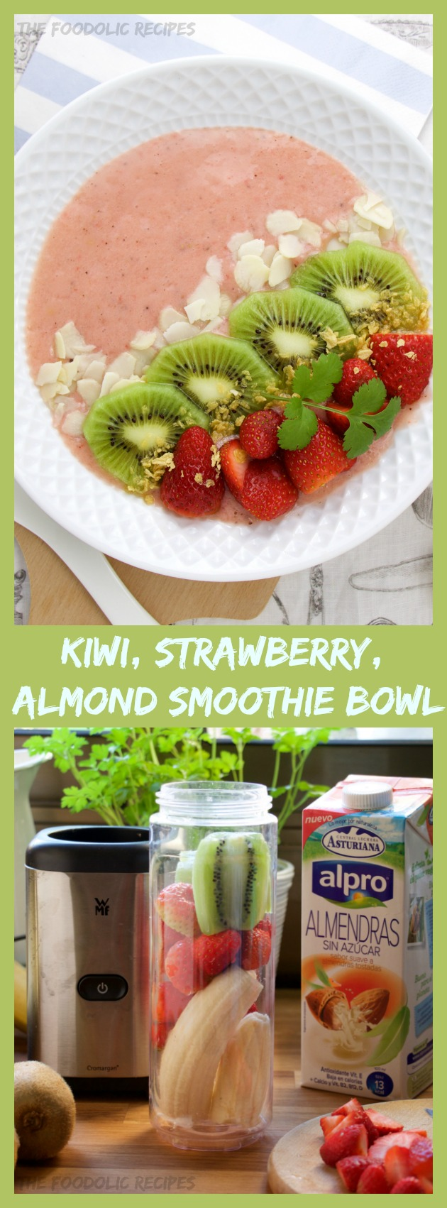 Kiwi, strawberry, banana and almond milk smoothie bowl is a smooth way to refill your vitamins level and start the day fresh. A Lactose-free smoothie.