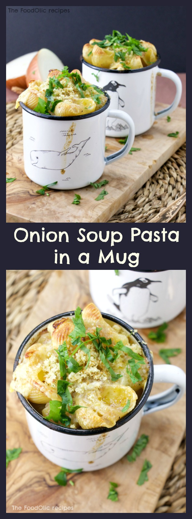 A shell pasta with an extra tasty onion soup (sauce) served in a mug topped with a light gratiné, fresh parsley and crunchy bread crumbs.