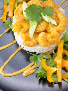 sweet and sour shrimps with cilantro
