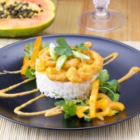 Papaya-Mustard Shrimps