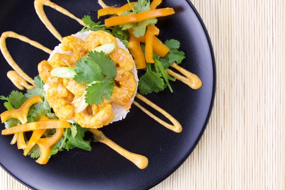 Papaya-Mustard Shrimps
