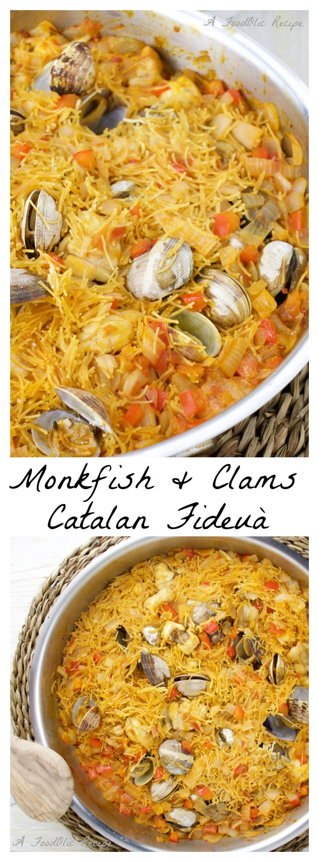 Monkfish and Clams Fideuà is an authentic Catalan dish similar to a paella although the rice is replaced by Fideus, a short thin noodle that is fried, then it soaks the Mediterranean flavoured stock with some extra saffron touch.