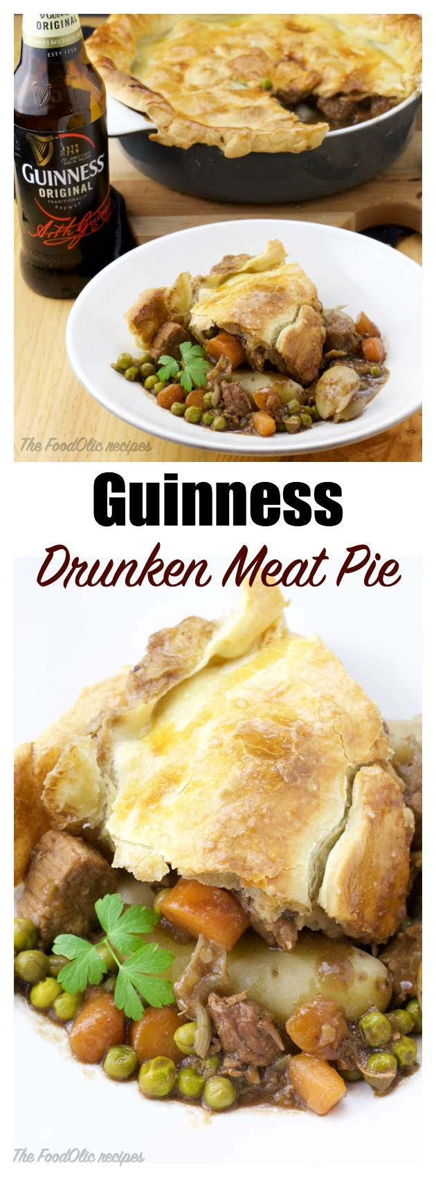 Drunken Guinness Meat Pie with a rustic thick crust to celebrate St-Patrick's day this year? A pie filled with tender meat, carrots, onions and green peas. A perfect pairing to a cold Guinness!
