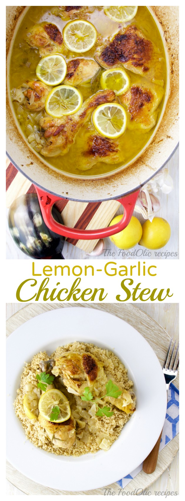 Lemon and Garlic Chicken Stew is a tangy and delicate dish served on a kamut couscous to soak all that tangy lemon-garlic sauce. Comfort food with a certain zing!