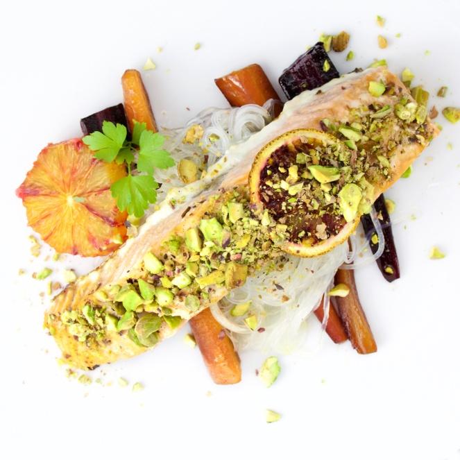 Tangy Salmon pistachio crust