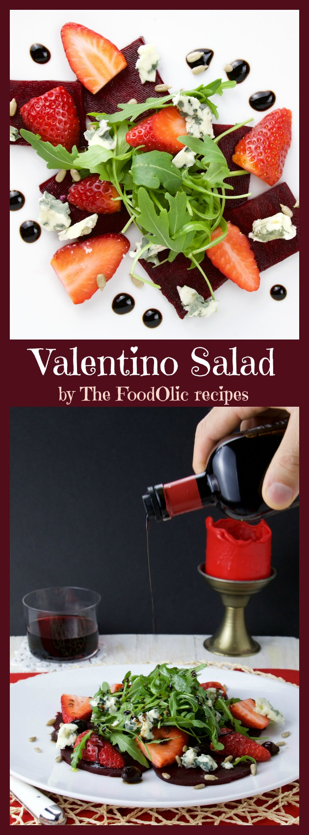 Valentino Salad is a perfect starter for a romantic dinner, it's a light earthy salad with roasted beets, strawberries, roquefort, sunflower seeds and arugula topped with an aged balsamic vinegar.