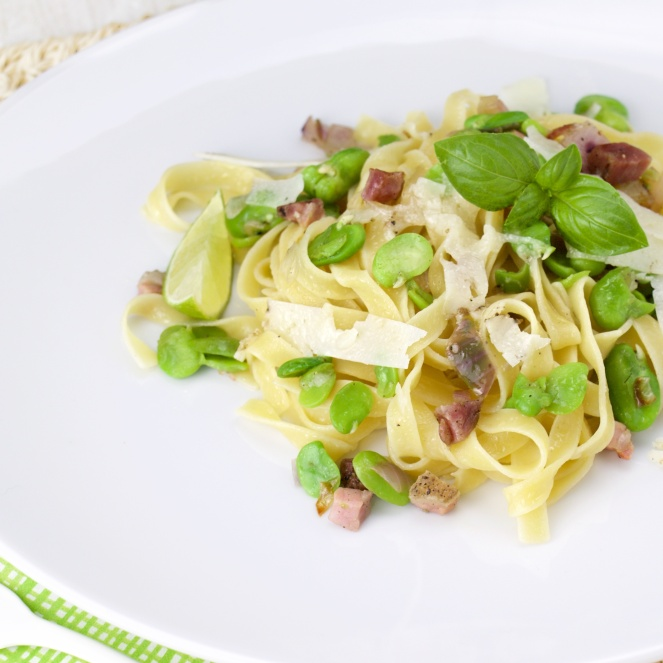 Fresh Broad Beans, pancetta and truffled pecorino Linguine